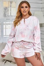 Розовый топ с длинным рукавом и шорты с принтом тай-дай Домашняя одежда больших размеров