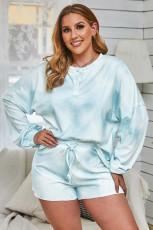 Небесно-голубой топ и шорты с длинным рукавом и принтом тай-дай Домашняя одежда больших размеров