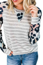 Gray Ombre Leopard Print Stripe Splice Long Sleeve Top