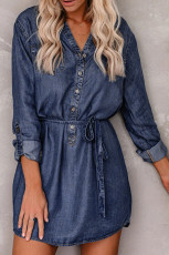Blue V Neck Buttoned Shirt Denim Dress