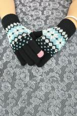 Черные теплые вязаные перчатки с принтом