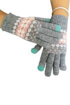 Серые теплые вязаные перчатки с принтом
