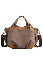 Brown Faux Leather Accent Crossbody Bag