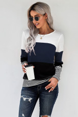 Μπλε Κομψό Colorblock Splicing Stripes Top