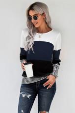 Blå stilig Colorblock Splicing Stripes Top