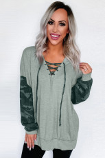 Gray Camo Lace-Up Side Split Hem Atasan Lengan Panjang
