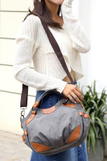 Gray Faux Leather Accent Crossbody Bag