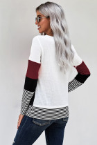 Top a strisce colorblock elegante vino