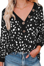 Spotted Print Black Long Sleeve Knit Top