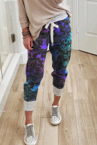 Pantaloni casual con coulisse stampa Halloween viola