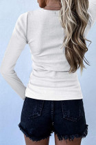 White Scoop Neck Buttoned Front Long Sleeve Knitted Top