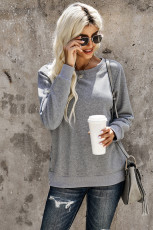 Gray Casual Slit Side Button Long Sleeves Sweatshirt
