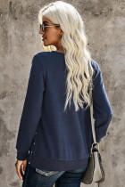 Blue Casual Slit Side Button Long Sleeves Sweatshirt