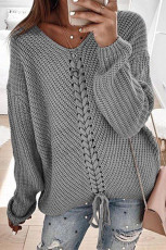 Gray V-neck Lace Up Knitted Sweater