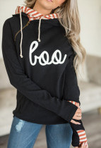 Letter Print Color Block Pocket Hoodie