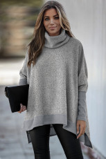 Gray Turtleneck Bat Sleeve Side Slit Tunic Top