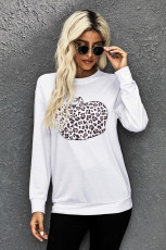 Animal Print Pumpkin Grafisk hvid sweatshirt