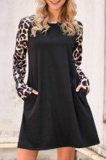 Black Leopard Splicing Pocket Mini Dress