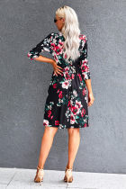 Black Floral 3/4 Sleeve Wrap Dress