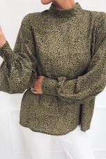 Mock Neck Lantern Sleeve Fashion Print Bluse