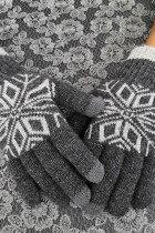 Gray Fashion Pattern Touchscreen Texting Mittens