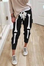 Sort Halloween kranietryk Linning elastisk taljejoggers