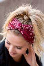 Red Paisley Twist Wide Headband