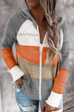 Gray Zipped Front Colorblock Hollow-out Knit Hoodie