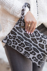 Clutch Grey Trendy Leopard
