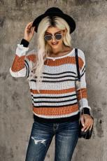 Sweater Pola Bergaris-garis Coklat Longgar