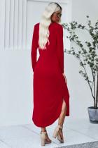 فستان قطن أحمر بجيوب مع شق