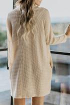 Khaki kappehals langermet lommestrikket minikjole