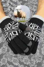 Black Fashion Pattern Touchscreen Texting Mittens
