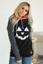 Black Halloween Print Color Block Pocket Hoodie