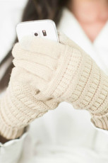 Beige Knit Winter Gloves with Suede Patch