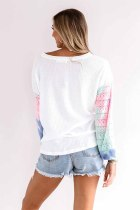 White V Neck Tie-dye Knitted Texture Hollow Out Puff Long Sleeve Top