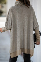 Khaki Turtleneck Bat Sleeve Tunika-top i siden