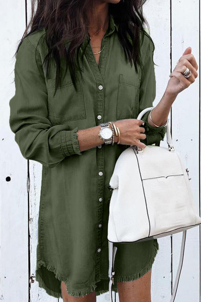 Green Denim Long Sleeve Shirt Dress