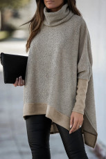 Khaki Turtleneck Bat Sleeve Side Slit Tunic Top