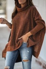 Brown Turtleneck Bat Sleeve Side Slit Tunic Top