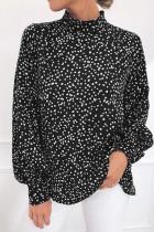 Sort Mock Neck Lantern ærmet Fashion Print bluse