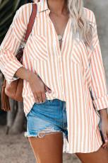 Льняная блуза с заниженными рукавами и карманом в оранжевую полоску