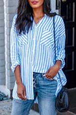 Небесно-голубая льняная блуза с заниженными рукавами и карманом