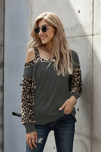 Gray Dew Shoulder Leopard Stitching Long-sleeved Blouse