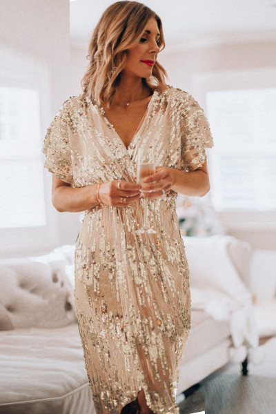 Gold V Neck Holiday Party Sequin Dress