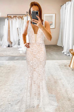 White V-neck Backless Lace Wedding Menyapu Lantai Gaun Malam