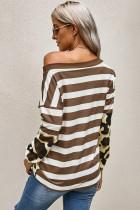Brun stribet leopard lange ærmer bluse