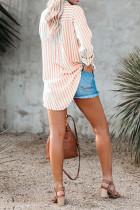 Oransje stripe linnedråped ermet knapp ned bluse med lomme