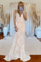 White V-neck Backless Lace Wedding Sweeping Floor Evening Dress