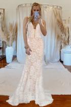Hvid V-hals Backless Lace Wedding Sweeping Floor Aftenkjole